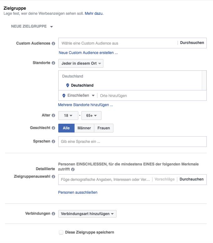 Facebook Werbeanzeige Manager Zielgruppe Muenchen Agentur